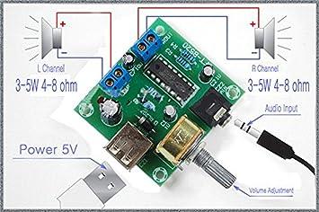 Winwill® PM2038 Amplificador de audio estéreo 2X5W Bord 5V Alimentación USB Volumen ajustable