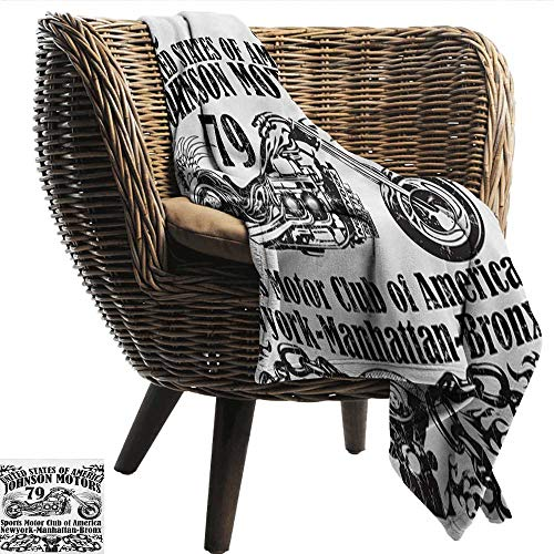 smllmoonDecor Printing Blanket Manly USA Johnson Motorsports Club in New York Historic Past Sketch Monochrome Artwork Print Summer Quilt Comforter W70 xL84 Sofa,Picnic,Camping,Beach,Everyday use - New York Giants Jersey Comforter