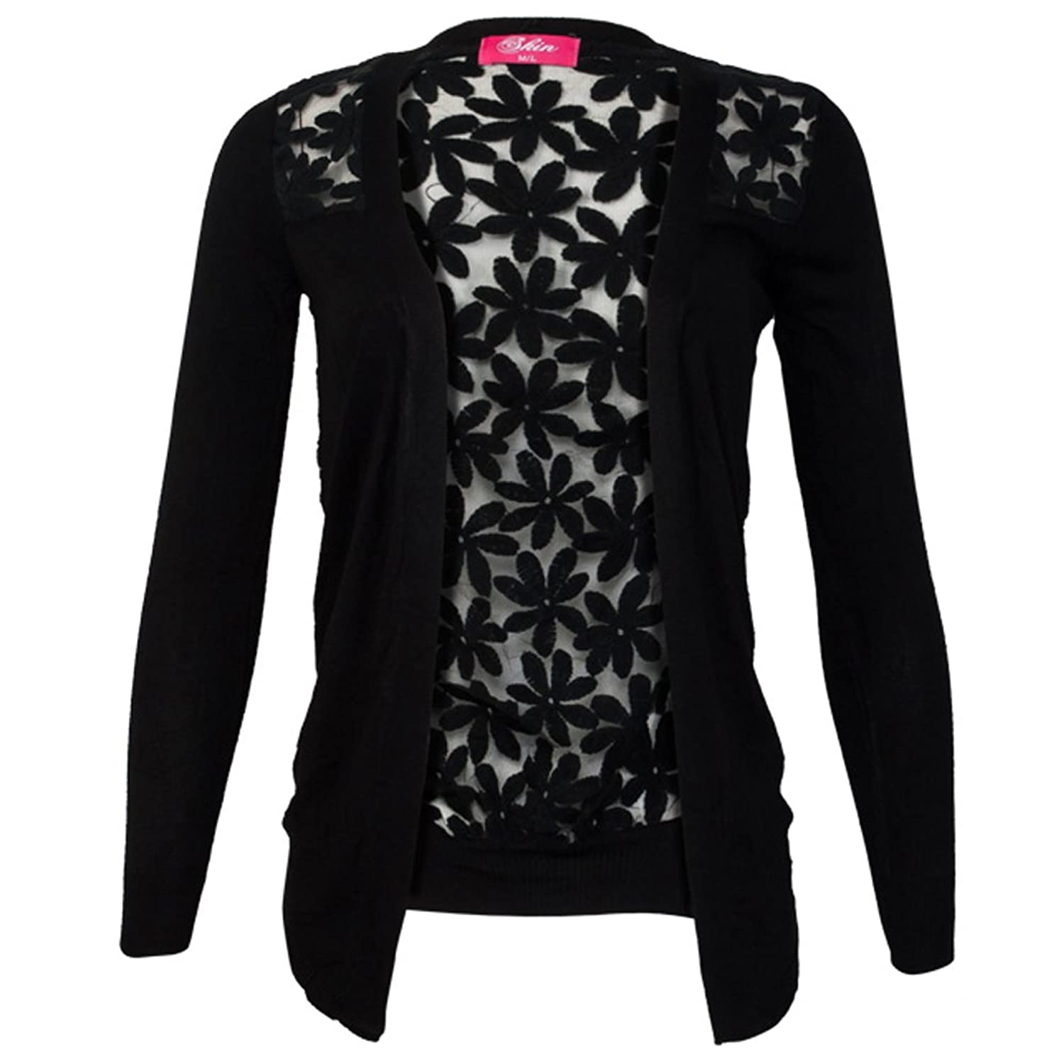 LOCOMO Floral See Through Back Sheer Long Sleeve Cardigan Black ...
