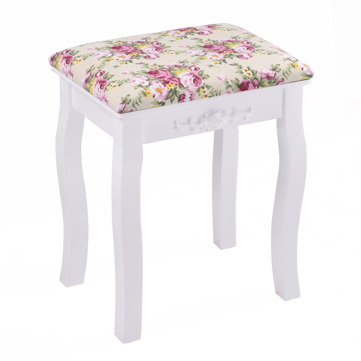Giantex Vanity Stool Wood Dressing Padded Chair Makeup Piano Seat Make Up Bench w/Rose Cushion (White) by Giantex