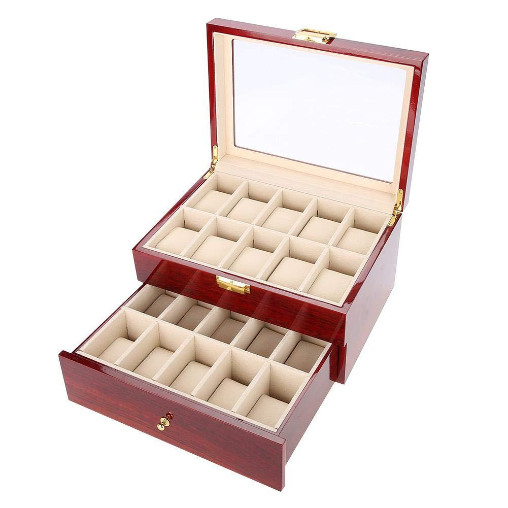 Caja para Relojes para Mujer Hombre, 20 Compartimentos Vitrina Avanzada de Doble Capa