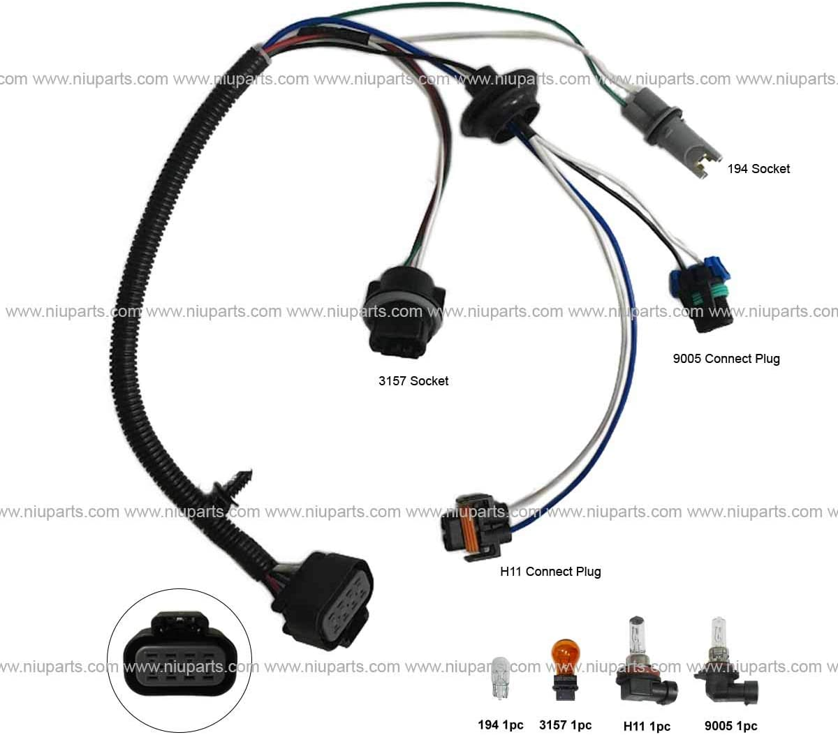 Amazon.com: Wire Harness for High & Low Beam Headlight, Corner Lamp, Marker  Light with Bulbs (FIt: Volvo VNL Headlight): Automotive | Volvo Headlight Wiring Harness |  | Amazon.com