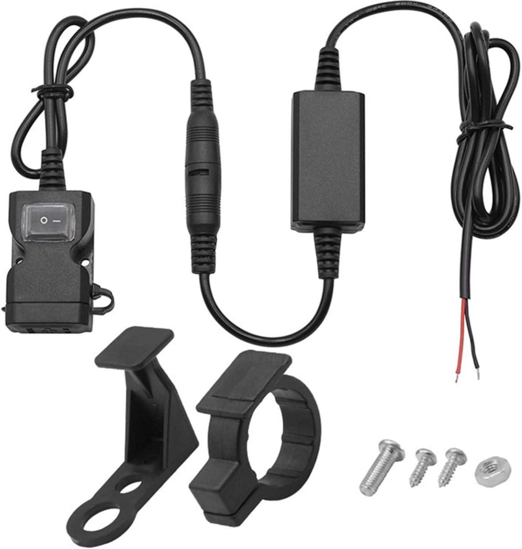Vosarea Cargador de moto USB para manillar o retrovisor, impermeable, con doble puerto 3,1 A, adaptador de toma de corriente rápida con interruptor, para escúter, triciclo de motor y otros vehículos