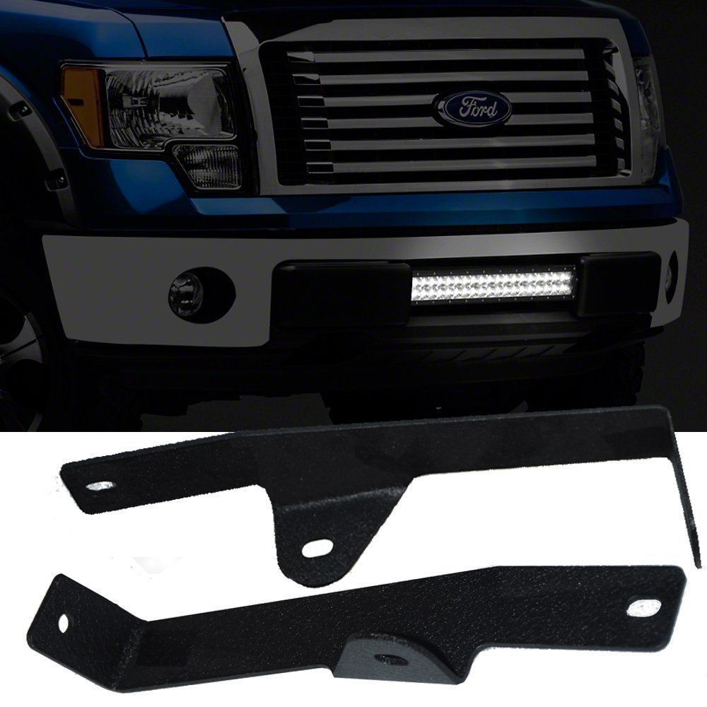 QUAKEWORLD Auxiliary Driving Led Lights 20 Inch Single or Dual Row Offroad Led Light Bar Front Lower Hidden Bumper Mounting Brackets Kit for 2006 2007 2008 Ford F150