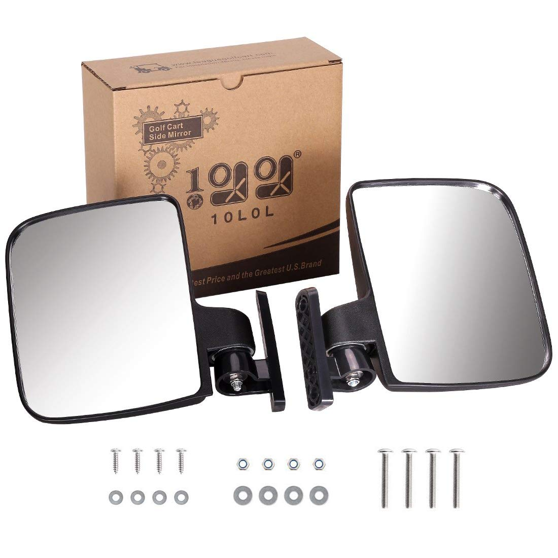 10L0L. Golf cart Generic Side Mirrors of EZGO Club Car Yamaha and Others (One Pair for Sale) by 10L0L