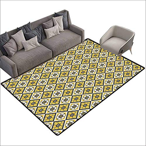 Bathroom Rug Kitchen Carpet Grey and Yellow,Tile Like Spring Flowers in Rectangular Shape Image,Charcoal Grey Yellow and White 60