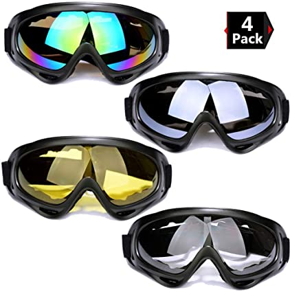 b513a328994 Peicees 4 Pack Ski Goggles Winter Snowboard Adjustable UV 400 Protective  Motorcycle Snow Goggles Outdoor Sports Tactical Glasses Dustproof Military  ...