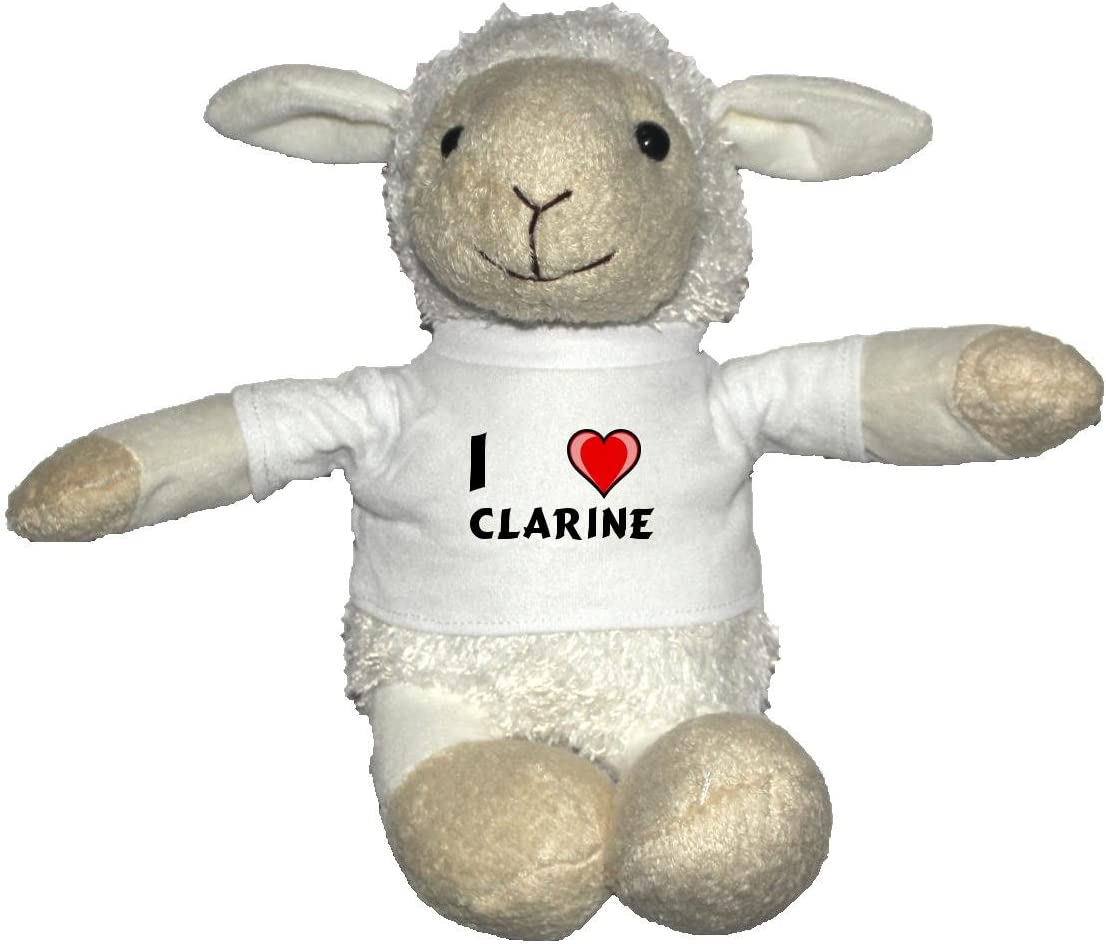 Oveja blanco de peluche con Amo Clarine en la camiseta (nombre de pila/apellido/apodo)