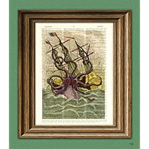 Kraken Giant Squid Attack On Boat Altered Art Dictionary Page Illustration Book Print