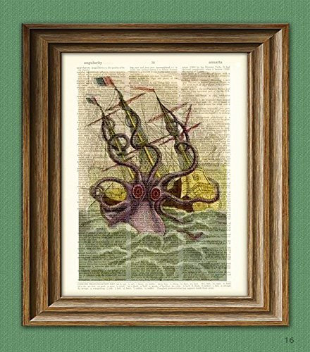 Kraken Giant Squid Attack On Boat Altered Art Dictionary Page Illustration Book Print 3