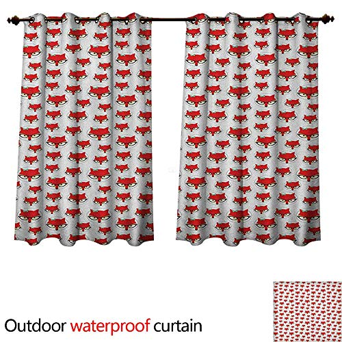 Anshesix Fox Outdoor Ultraviolet Protective Curtains Cartoon Hipster Red Lady Fox with Glasses and Buckle Inside a Circle of Dots W63 x L72(160cm x 183cm)