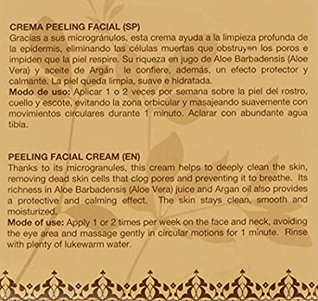 Argan-Aloe 70220 - Crema peeling facial con aloe y argán