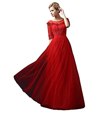Beautyprom Womens Long Evening Party Prom Dresses Gowns Red US2