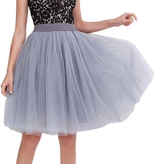 LLAni falda tutú larga de 5 capas de malla para mujer, color liso ...