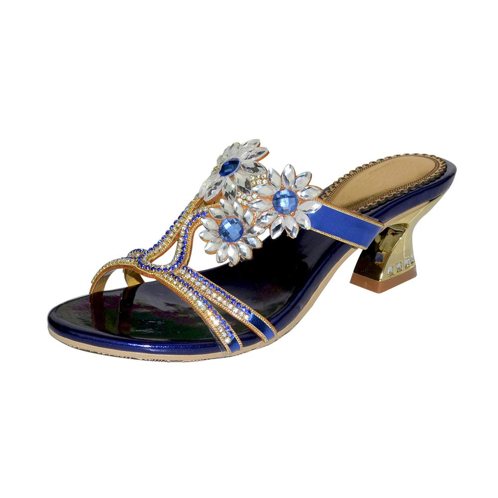 bluee Women's Hollow High Heel Sandals Crystal Flower Diamond High Heel Slippers Summer Beach Leisure Slippers