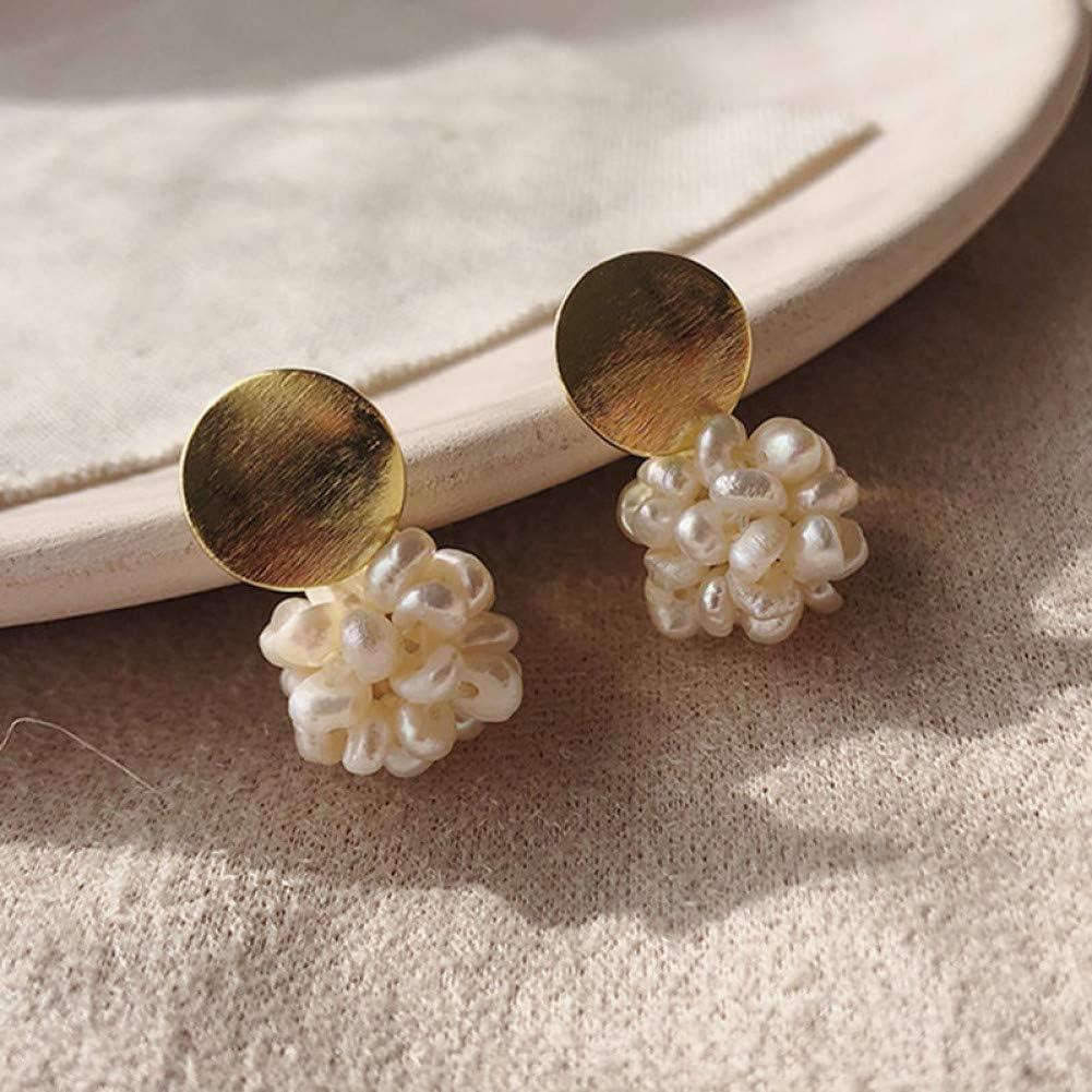 ZHQJY Pendientes de Perlas Frescas de Lentejuelas Doradas Irregulares Naturales para MujerPendientes de borlas de Perlaspequeñas