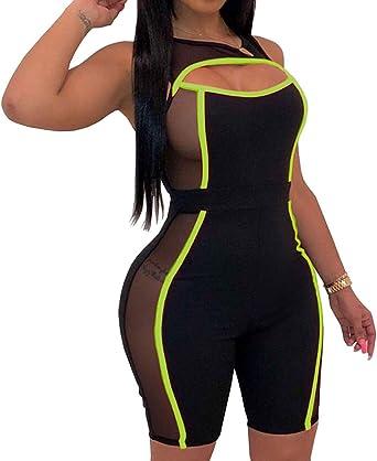 Black /& Blue Sequin Mesh Shorts Playsuit Dance Costume