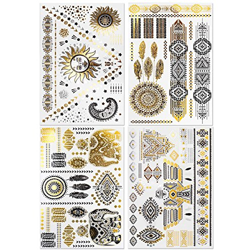 BMC 4 Sheet Set Bling Metallic Gold Black Tribal Print Temporary Body Tattoos (Tribal Print Tattoos)