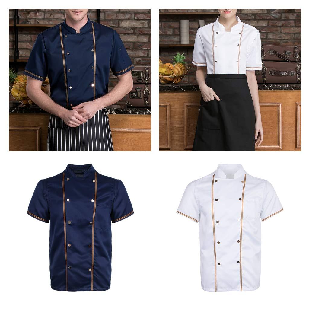 Baoblaze Uniforme Ristorante Cuoco Manica Corta Cucina Uomo Donna Cappotto da Chef Unico