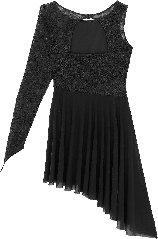 iEFiEL Vestito da Balletto Donna Abito da Ballo Jazz Latino Americano Samba Rumba Tango Salsa Danza Leotard Vestito da Ballerina per Saggio Monospalla Dancewear