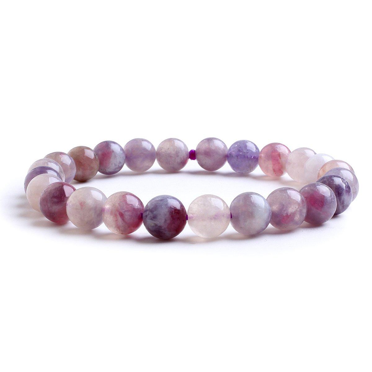 8mm Natural Stone Healing Elastic Beaded Stretch Bracelet Birthstone For 6 - 7.5 Inch Wrist Unisex Candyfancy B040
