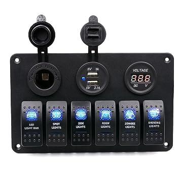 Yukong Waterproof Rocker Switch Panel, 6 Gang wasserdichtes Auto ...