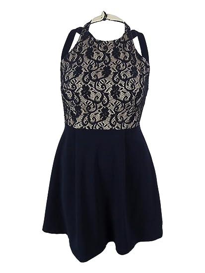 0c41a4f02b00 Amazon.com  Teeze Me Juniors  Sleeveless Lace Crisscross Dress (13 ...