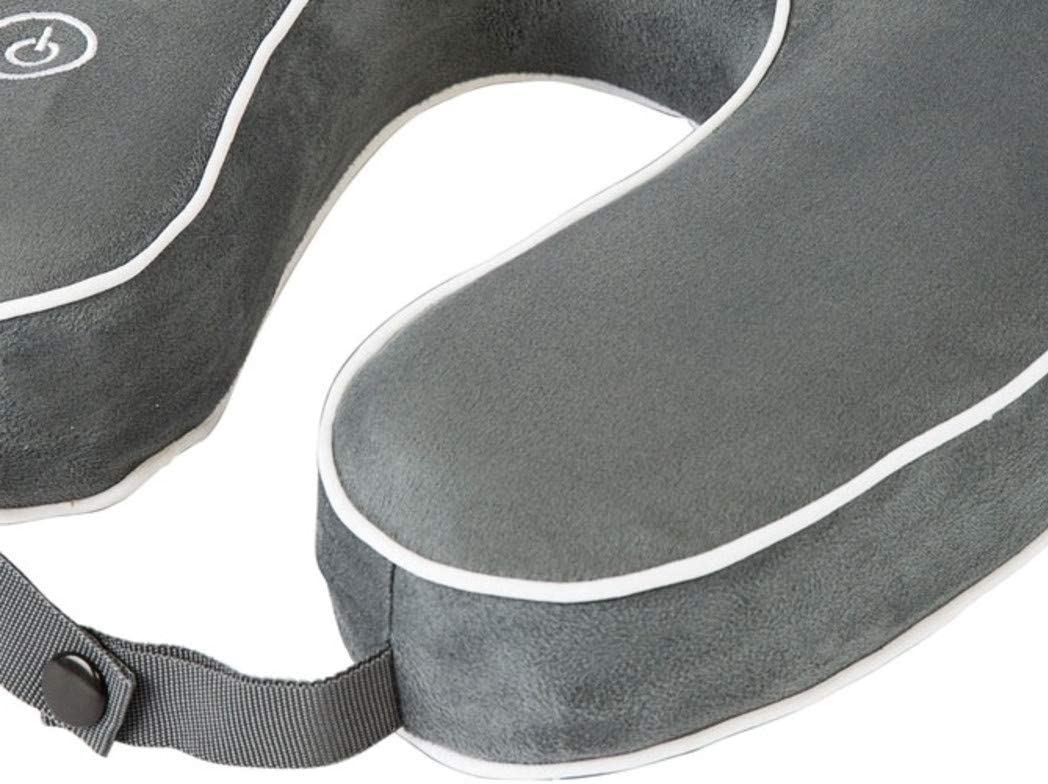 HoMedics Memory Foam Neck Pillow - Mobile Comfort Vibrating Massage Travel Pillow Gray