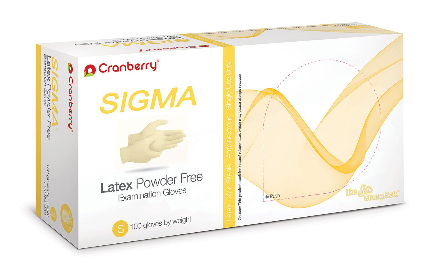 Cranberry USA CR5816case Sigma Powder Free Exam Gloves, Small, Latex, Beaded-Cuff, Yellow (Pack of 1000) by Cranberry USA