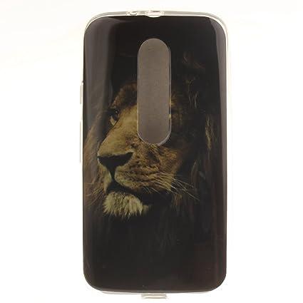 Guran® Silicona Funda Carcasa para Motorola Moto G (3a Generación) Smartphone Case Bumper Shock TPU Cover-León