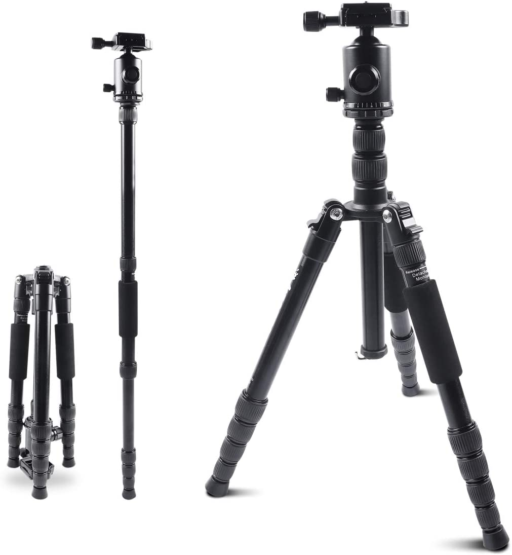 Compact Lightweight Travel Monopod Tripods Stand with 360 Degree Ball Head /& 24lb Load for Canon Nikon Sony Gopro Vlog DSLR Video Shooting Mifotto Camera Tripod 45 Inch