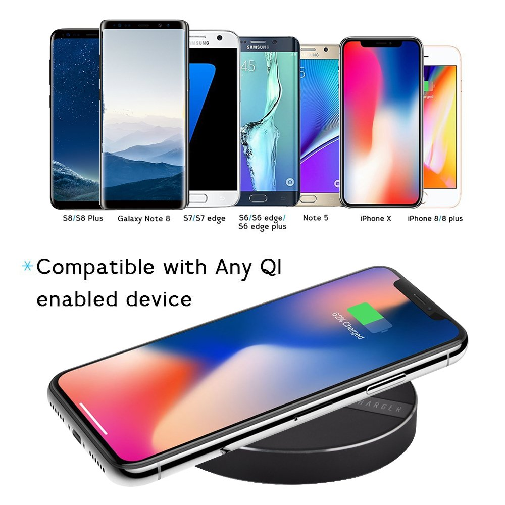 Wireless Charger, olatec 10W Fast Wireless Charger with QC3.0 Adpter for iPhone X 8/8 Plus, Samsung Galaxy S8/Note 8/5/S7, 5W for Galaxy S9/S9 Plus and All Qi Enabled Phones-Black