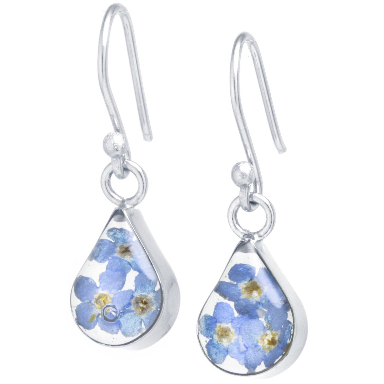 Silver on the Web Fine Silver Plated Dried Flowers Teardrop Earrings, Blue