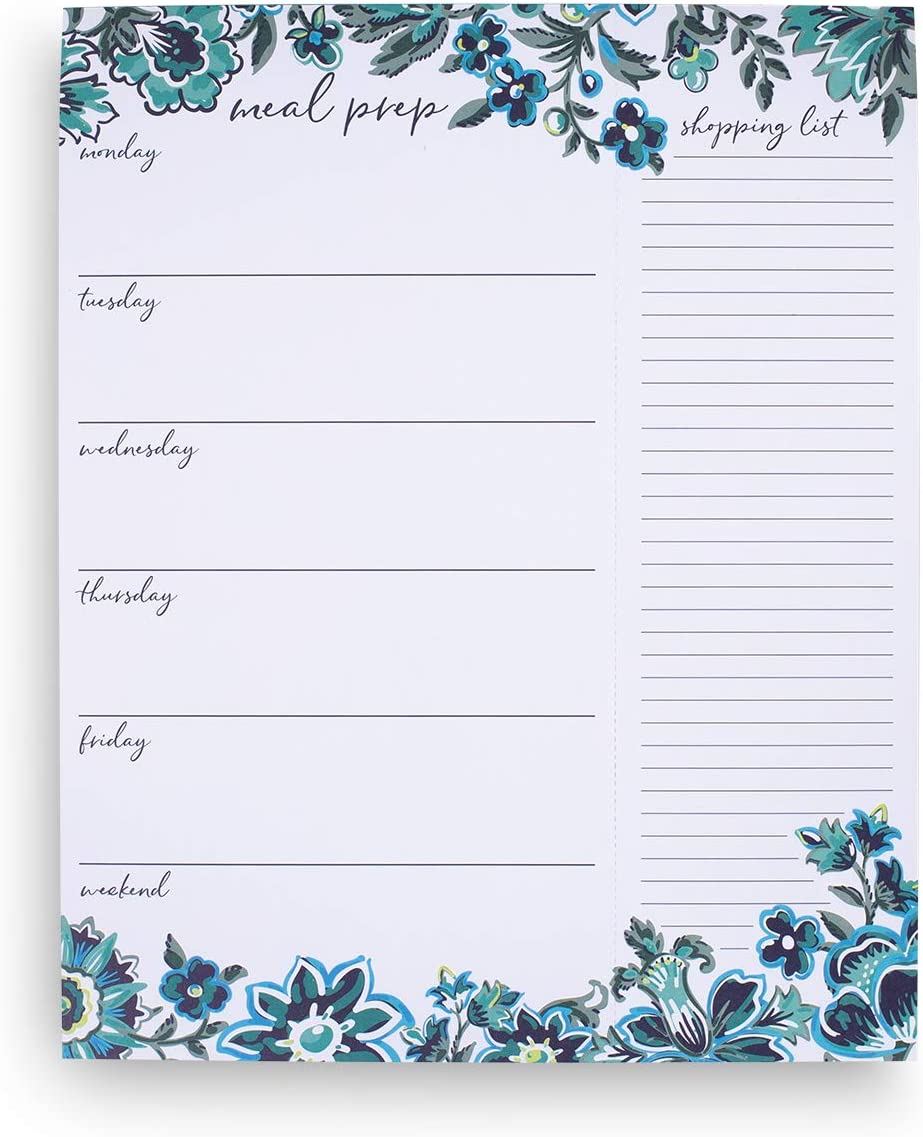"""Vera Bradley Blue Floral Undated Weekly Meal Planner and Shopping List Pad, 10"""" x 7"""", Cloud Vine"""