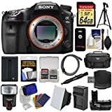 Sony Alpha A99 II Full Frame 4K Wi-Fi Digital SLR Camera Body with 64GB Card + Case + Flash + Battery & Charger + Grip + Tripod + Kit
