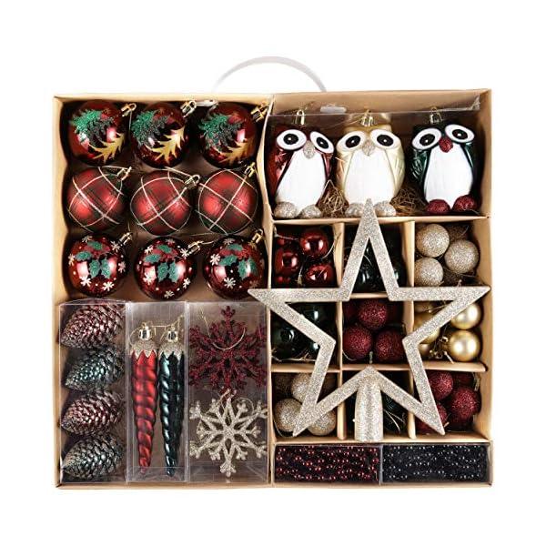 Valery Madelyn Palle di Natale 90 Pezzi di Palline di Natale, 3-13 cm di Strada di Campagna Rosso Verde e Oro Infrangibile Ornamenti di Palla di Natale Decorazione per la Decorazione 1 spesavip