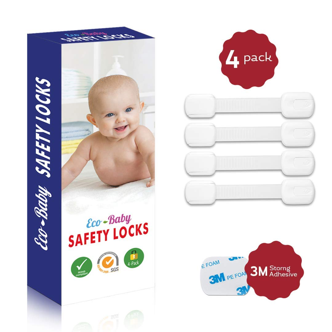 Child Safety Strap Locks 4 Pack for Fridge /& More By Jool Baby Cabinets