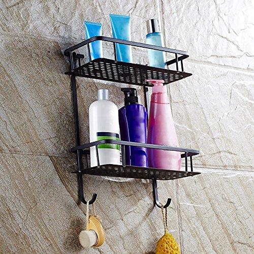 XiYunHan Bathroom Shelf 2-Tier Shower Cosmetic Shelf Square Modern Style with Cover Oil Rubbed Black Bronze Basket Shower Organizer Wall Mounted Storage Shelf by XiYunHan (Image #6)
