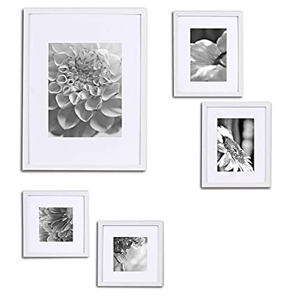 Amazon.com - Gallery Perfect 5 Piece White Wood Photo Frame Wall ...