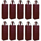 Elife Reusable Gift Bag, Single Bottle Wine Tote Holder Vineyard, 10 Pack Set