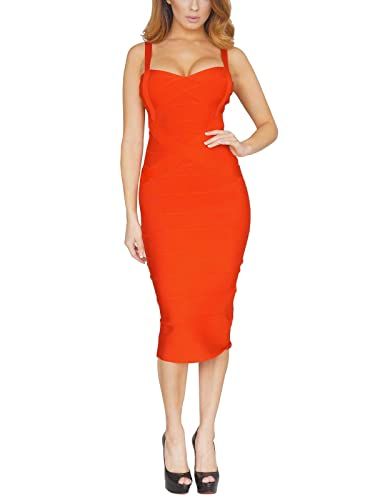 S Curve Women's Crossover Rayon Strap Bandage Midi Dress