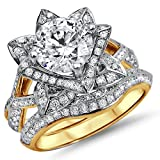 Smjewels 2.05 Ct Round Sim.Diamond Lotus Flower Engagement Ring Bridal Set 14K Yellow Gold Fn