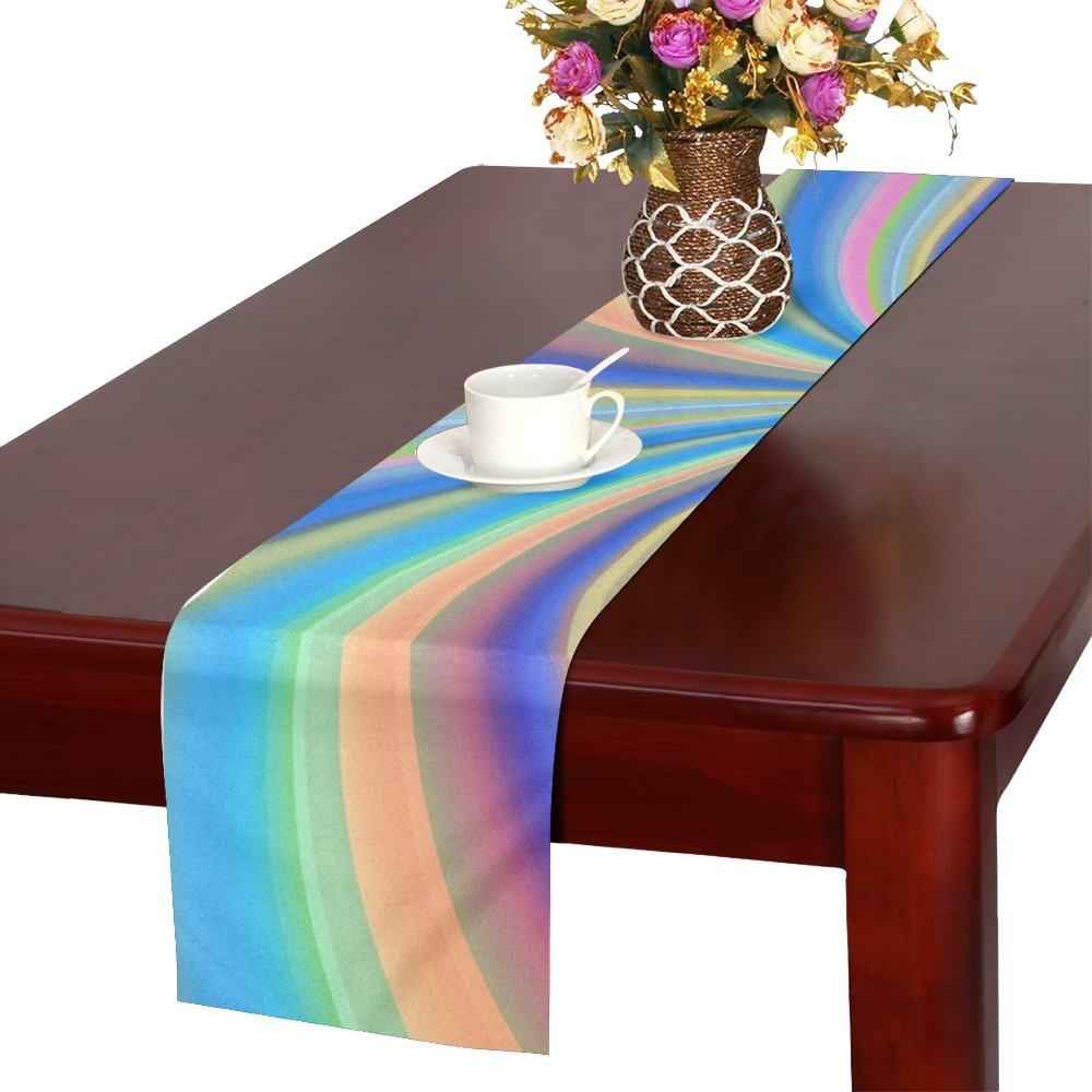 Colorful Color Arrangement Aesthetics Table Runner, Kitchen Dining Table Runner 16 X 72 Inch For Dinner Parties, Events, Decor