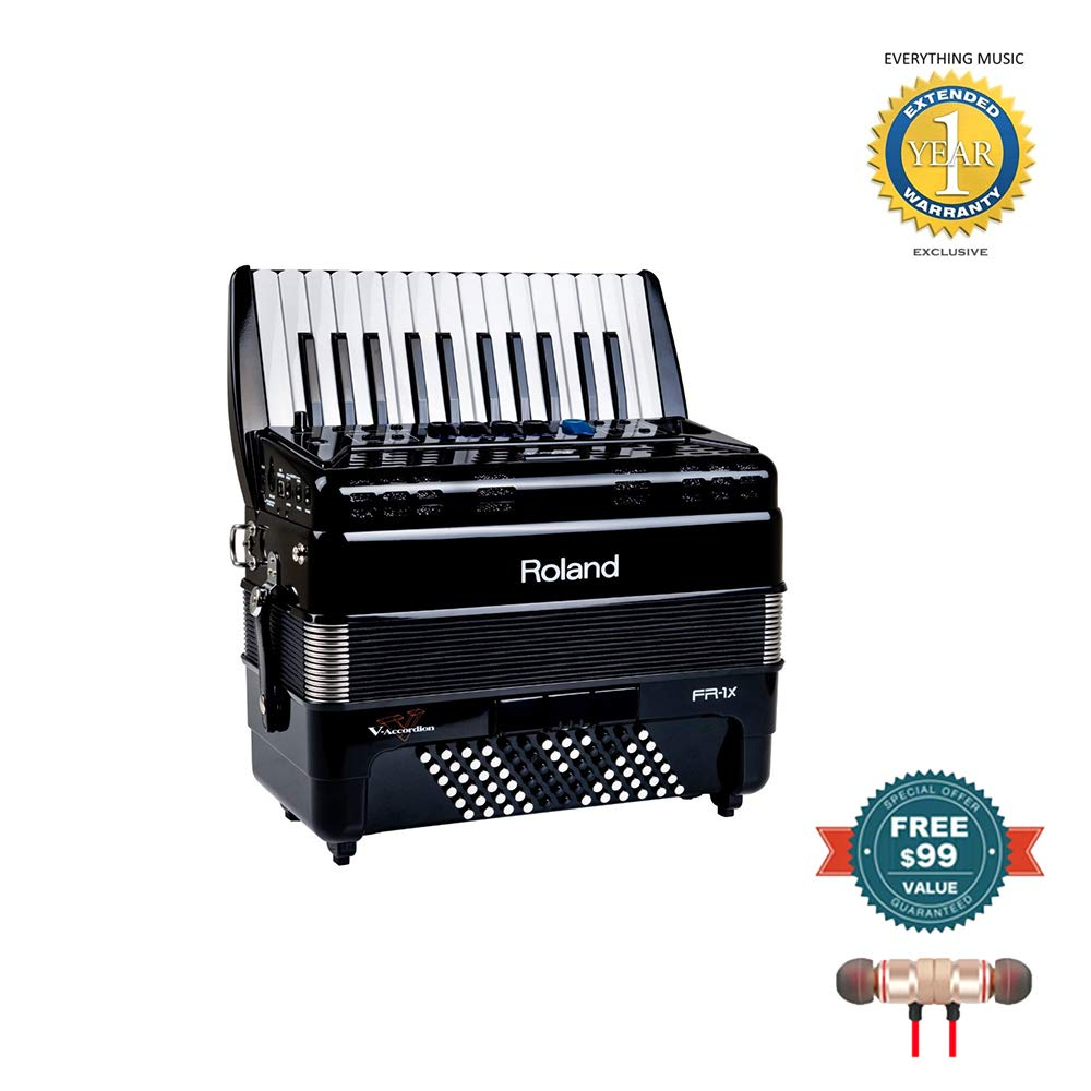 Roland FR-1x Piano type V-Accordion Black includes Free Wireless Earbuds - Stereo Bluetooth In-ear and 1 Year Everything Music Extended Warranty by Roland