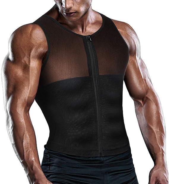 20b424775f Amazon.com  TAILONG Men Shirt Vest Slimming Underwear Body Shaper Tight Tank  Top Waist Trainer Tummy Control Girdle  Clothing