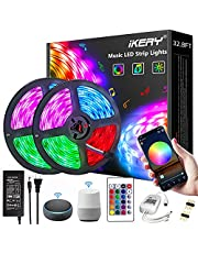 IKERY WiFi LED Strip Lights 10m/32.8ft, Smartphone Controlled LED Strip Kit RGB Waterproof IP65 300LEDs 5050 LED Lights, Music Sync, Voice Control Compatible with Alexa Echo, Google Assistant, IFTTT (32.8ft)