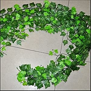 Home Foliage Decor Green Plant Ivy Leaf Artificial Flower Plastic Garland Vine ~ , red berry vine garland , hop vine garland