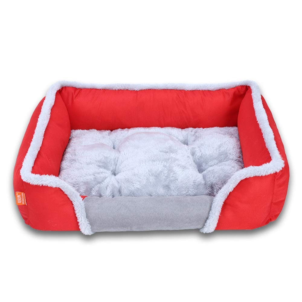 Red Medium Red Medium Kennel Pads Dog Beds Pet Dog Bed Winter Warm Cotton Velvet Square Pet Nest Cat Bed Pet Supplies Cover (color   Red, Size   Medium)