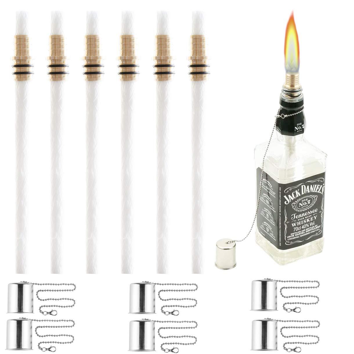 OEXEO Tiki Torch Kit,Torch Wicks and Brass Wick Mount, Table Top Torch Lantern Kit (6PCS)