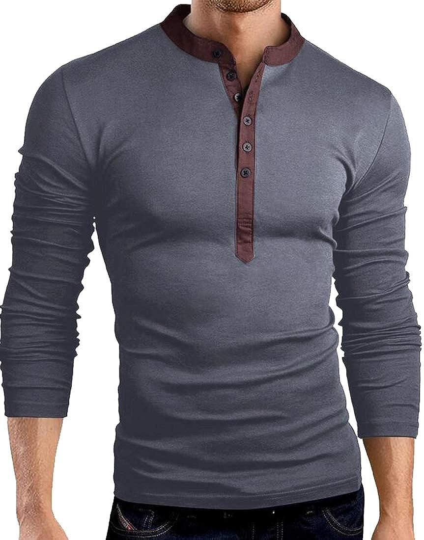 GAGA Men Casual Linen and Cotton V Neck Long Sleeve Henley T-Shirt